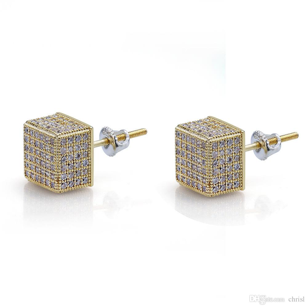 0f35a081f6434 Men 8MM Square Earring with Screw Back Gold Silver Iced Out Micro Paved  Stud 925 Silver Earring