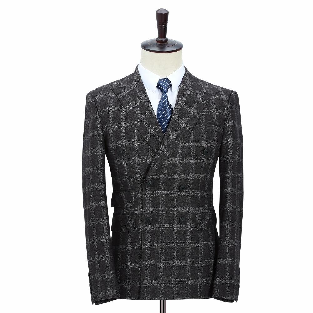 aeef0c0ddc 2019 Men Costume 2018 Latest Coat Pant Vest Three Piece Suit Dress Slim Fit  Black Plaid Formal Costume Male Skinny Double Breasted Suits Set From  Nevalee, ...
