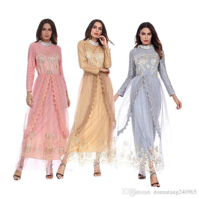 High Quality Muslim Women Long Sleeve Hijab Wedding Dress Middle East Arab Islamic Fashion Embroideried Clothing Robe For Women