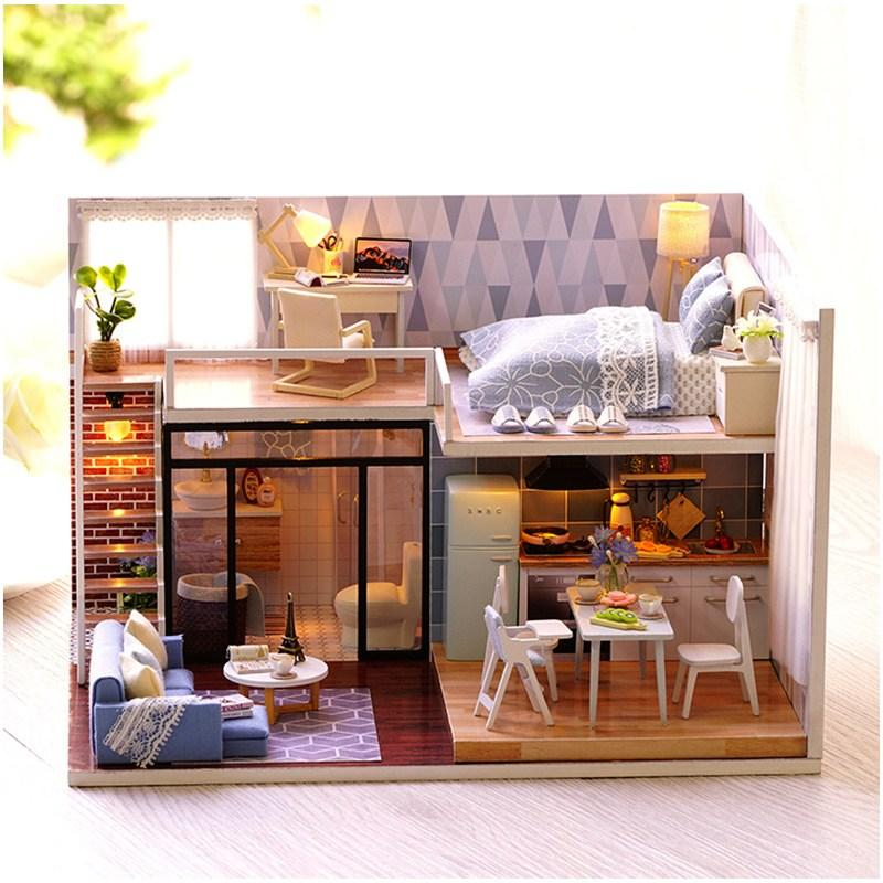 Merveilleux Cuteroom L 023 Blue Time Diy House With Furniture Music Light Cover  Miniature Model Gift Decor Baby Love Toys Dollhouse Family Dolls Toy Doll  Houses From ...