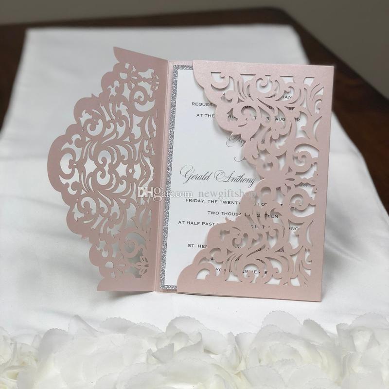 Pink Laser Cut Wedding Invites Glitter Silver Wedding Invite With