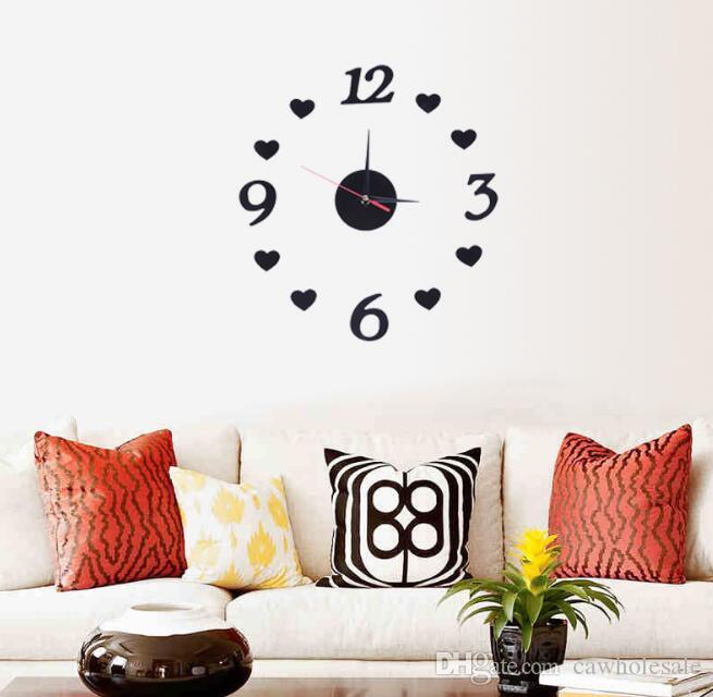 mini 3d diy acrylic wall clock wall sticker design home office room