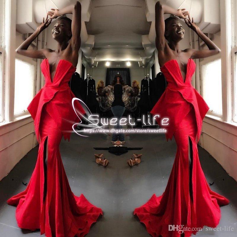 Rosso 2019 abito da sera sirena sexy sudafricano senza spalline peplo a buon mercato sweep treno formale party vestidos in raso su misura abiti da ballo