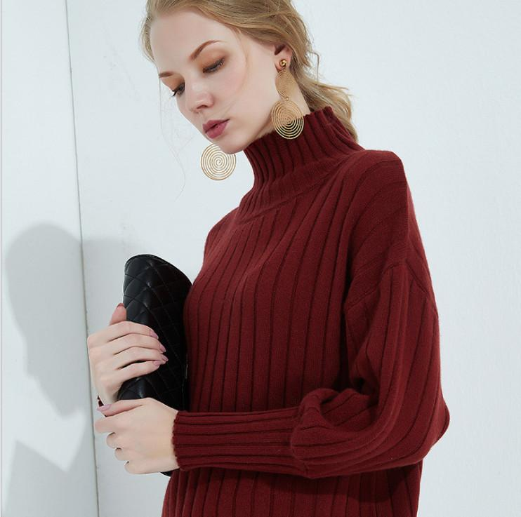 Sweaters Pullovers 2019 New Fashion Elegant Lady Solid Hight-neck Sweater Knit Loose Bats Head Lanterns Sleeves Outside The Bottom Wearing Sweater