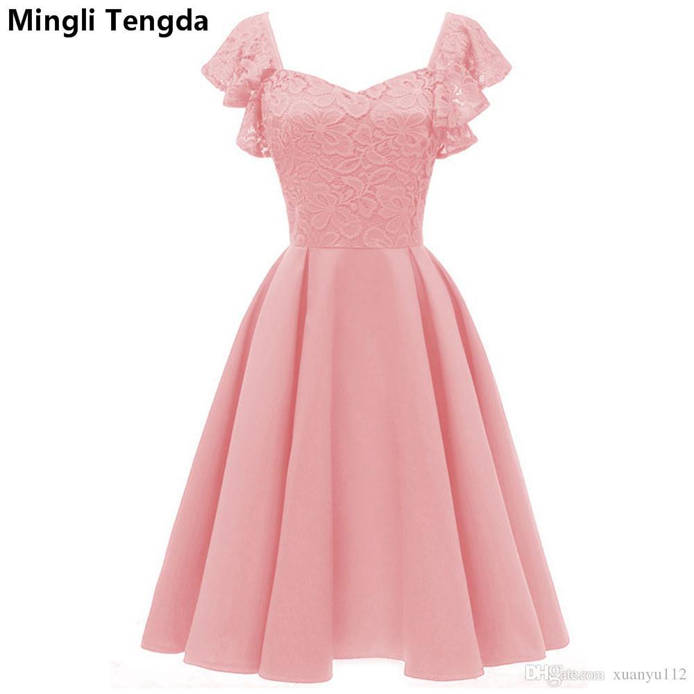 215cf73d642a Mingli Tengda Pink A-Line Vestidos de dama de honor elegantes 2018 Vestidos  cortos de encaje con cuello en V para el banquete de boda para mujer ...
