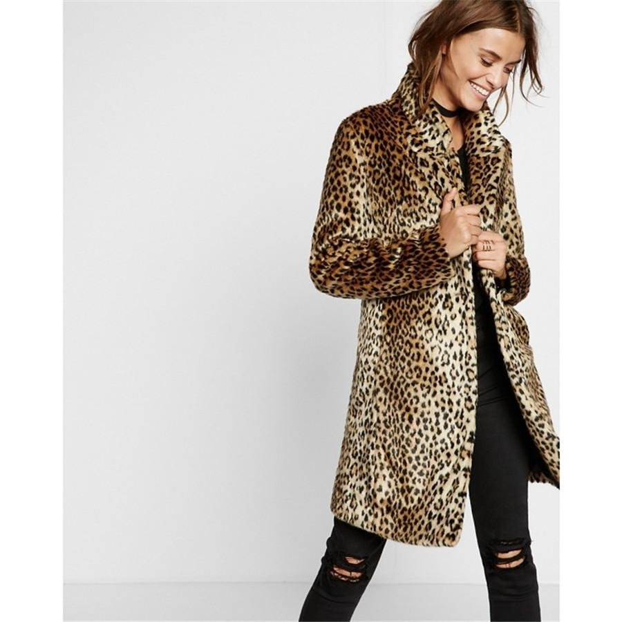 cf2dd52d5 Leopard Faux Fur Coat Women Thick Warm Winter Outerwear Womens Artificial  Fur Jacket Long Overcoats Ladies Fashion