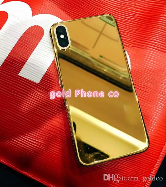 FOR IPHONE X Back Housing with Metal Frame Battery Door Replacement for iPhone x real gold Gold housing back part metal