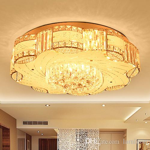 Modern LED Ceiling Chandeliers Luxury Noble Creative Round Crystal  Chandelier Lights For Hotel Villa Living Room Bedroom Ceiling Chandeliers  Crystal ...
