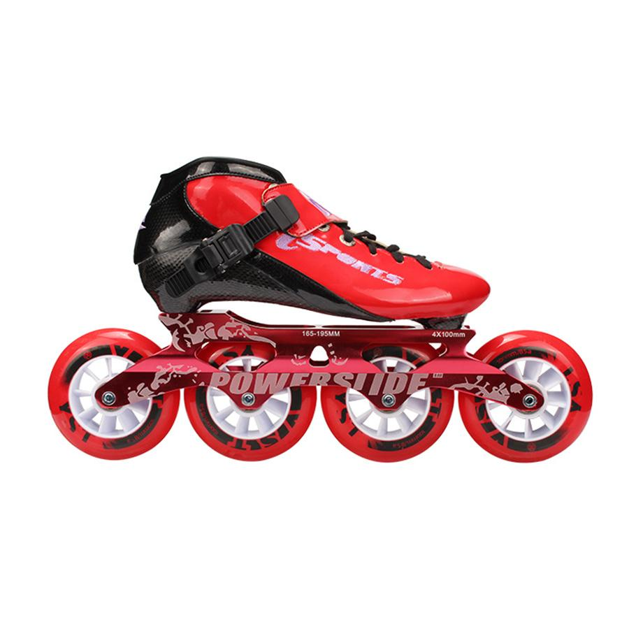 Pattini inline Speed ​​Fibra di carbonio professionale 4 * 100 / 110mm Pattini da competizione 4 ruote Pattini da corsa Patine Powerslide simile