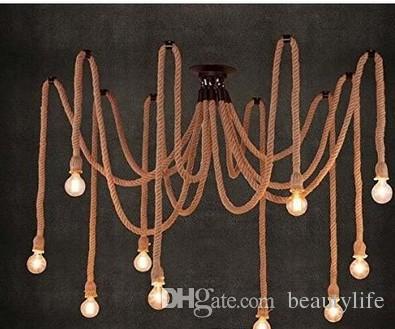 Acquista e27 corda edison giù lampadine vintage spider net lampadari