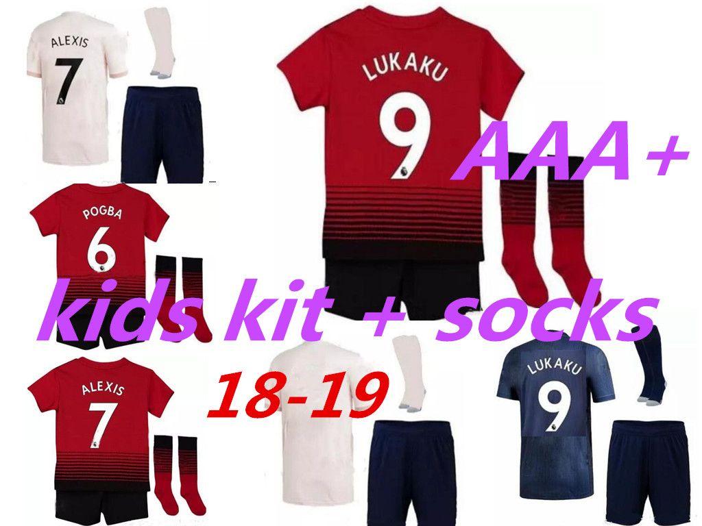 timeless design f2cfa e9fe9 Manchester United Soccer Jersey KIDS KIT with socks 18 19 Lukaku ALEXIS  pogba boys camiseta de futbol home away third kids football kit