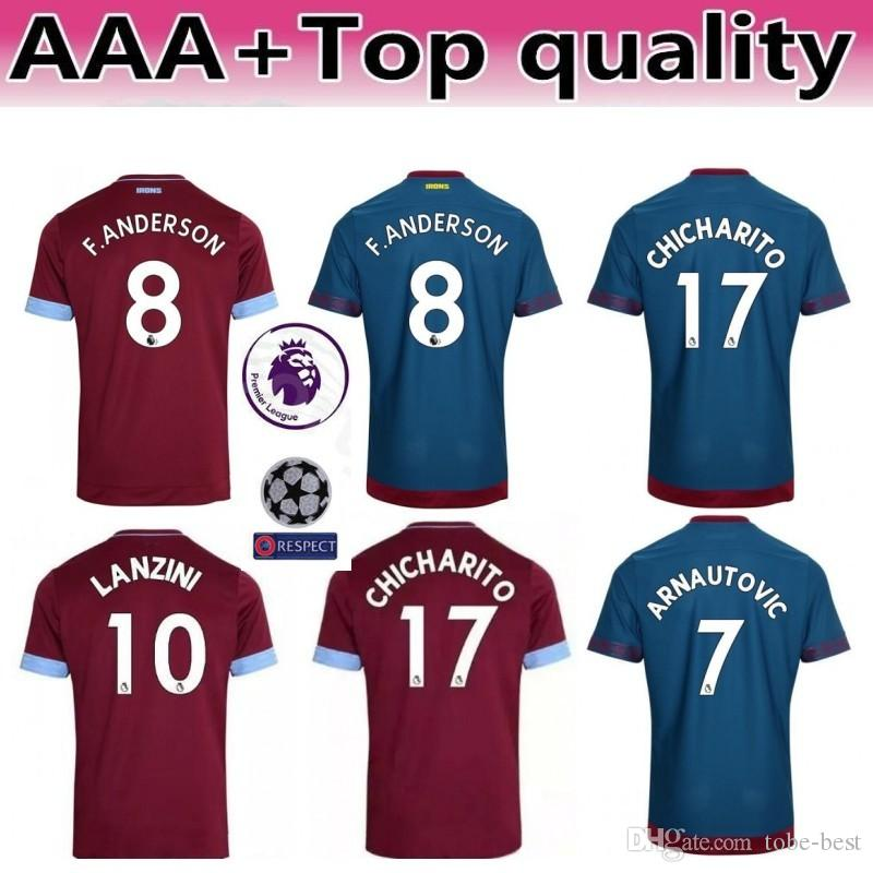 8648939eb7e 2018 2019 West Ham United Jersey Men Soccer 17 Javier Hernandez 17  CHICHARITO 10 LANZINI 16 NOBLE Football Shirt Kits Uniform Red Blue Online  with ...