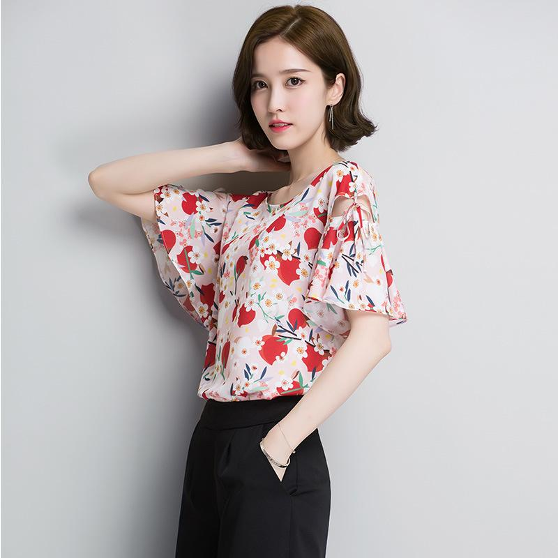 9de8658d949 Trumpet Sleeve Shirt Women 2018 Summer New Korean Short Edition T ...