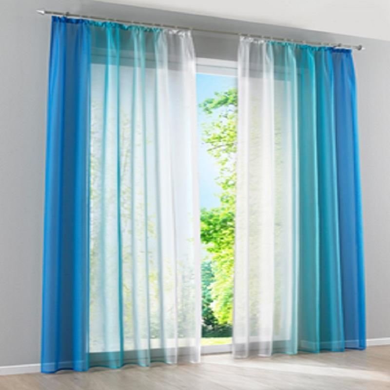 Acheter Set Tulle Decoratif Simple Degrade Fenetre Rideau Bleu