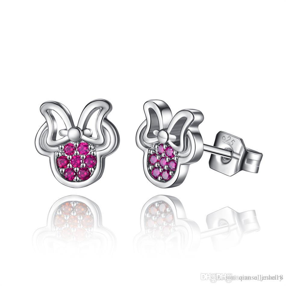 For Women 925 Sterling Silver Red Crystal Sparkling Stud Earrings