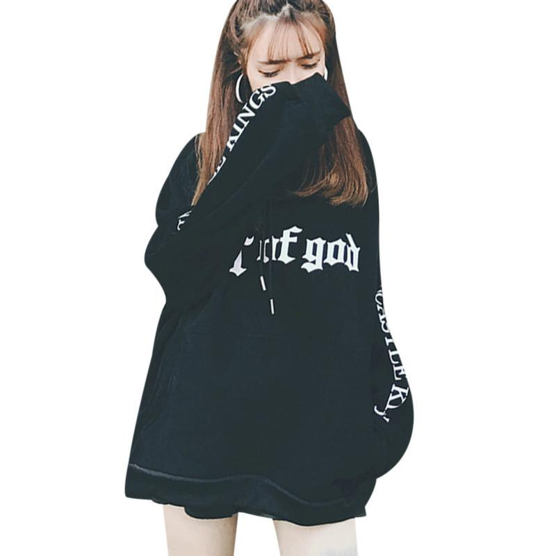 Women's Clothing New Fashion Hoodies Women 2019 Large Size School Students Thicken Loose Hooded Womens Pullover Letter Printed Korean Ladies Sweatshirts