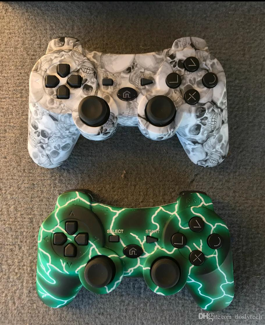 Ps3 Controller Wireless Bluetooth Controller custom gamepad with 400mah battery inside green and skull color