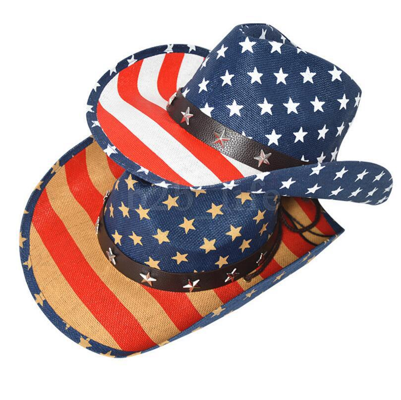 3311b48fd32a8 American Flag Stars Sun Hats Stripe Hollow Western Cowboy Hat Studded  Patriotic Jazz Personality Retro Cap FFA462 Hats For Women Trilby Hat From  ...