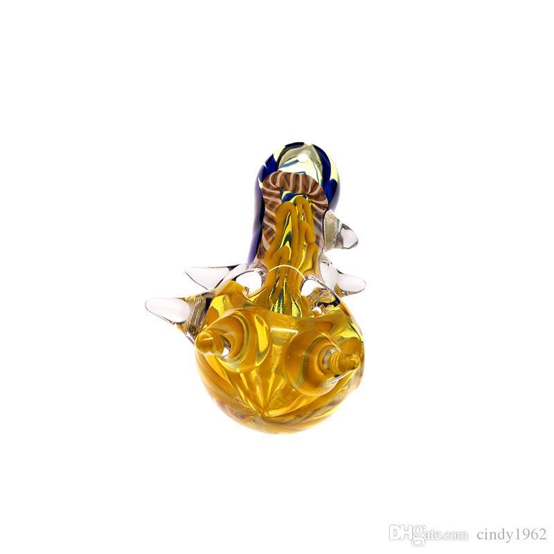 Conch 숟가락 파이프 훈증 손 파이프 튜브 흡연 파이프 4.3 인치 유리 담배 튜브 믹스 컬러