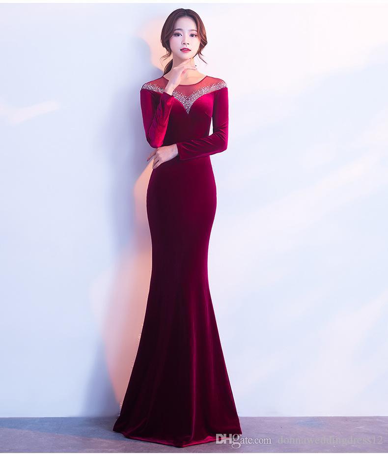 2018 New O Neck Velvet Satin Evening Dress Long Royal Blue Burgundy 2018  New Floor Length Mernaid Sheer Beads Prom Party Dresses Vestidos Formal  Evening ... 855bd500a190