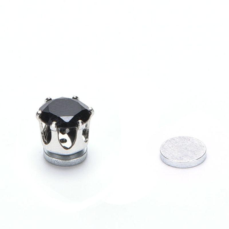 White Black Magnetic Magnet Ear Stud Easy Use Crystal Stone Stud Earrings For Women Men Earrings Clip On No Ear Hole Gif