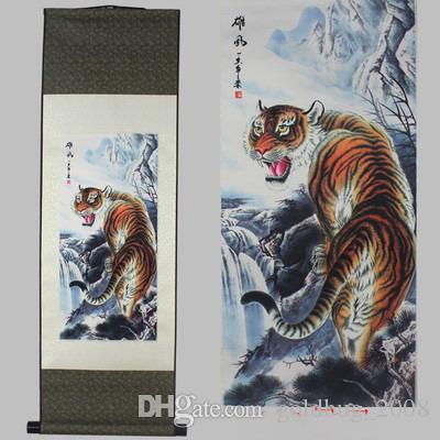 En gros pas cher Blue Dragon Seaping Carp Hanging Scroll Peinture Home Decor Cadeau de pendaison de crémaillère 7 options de style