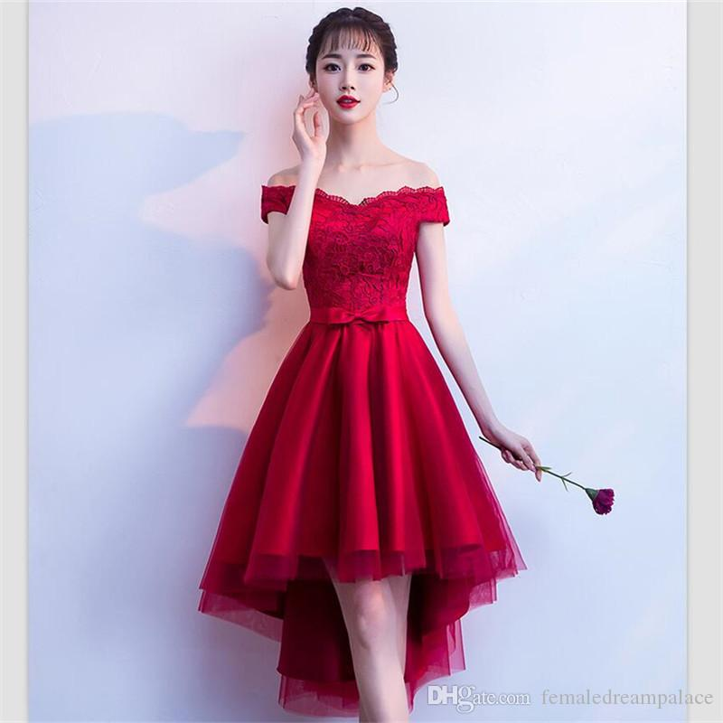 f5ae6fe472b8 2018 New Arrival Red Lace Bridesmaid Dresses Custom Off Shoulder Short  Junior Formal Gowns Hi Lo Girls Homecoming Dress Dresses For Flower Girl  Dresses For ...
