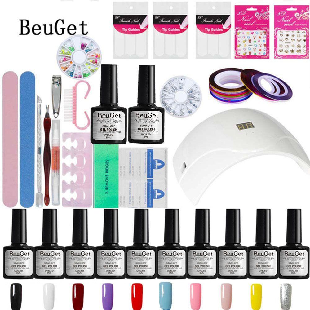 BeuGet Gel Polish Top & Base Coat Gel Nails Polish Kit 24 W White ...