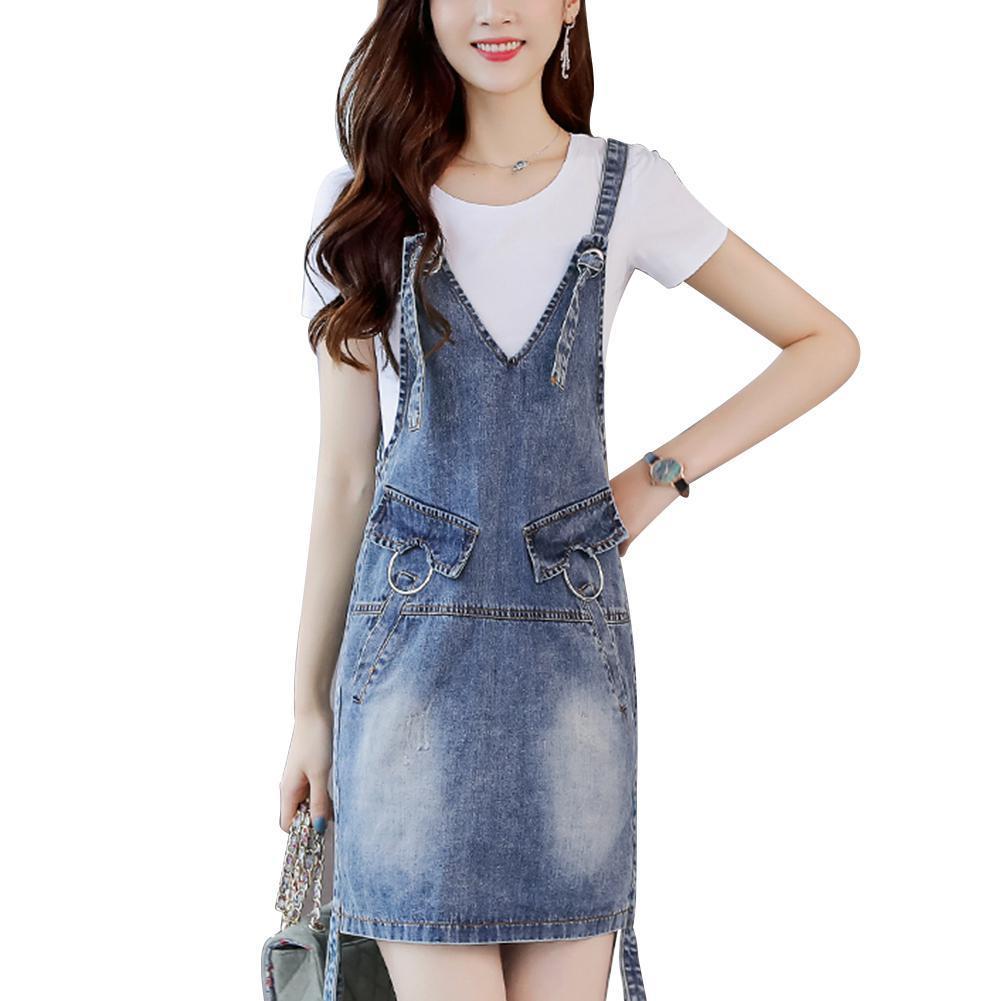 44b48b8976 2019 Mrwonder Women Stylish Denim Skirt Shoulder Strap Suspender Skirt  Casual Daily Wear Outfits Gift From Regine, $34.99 | DHgate.Com