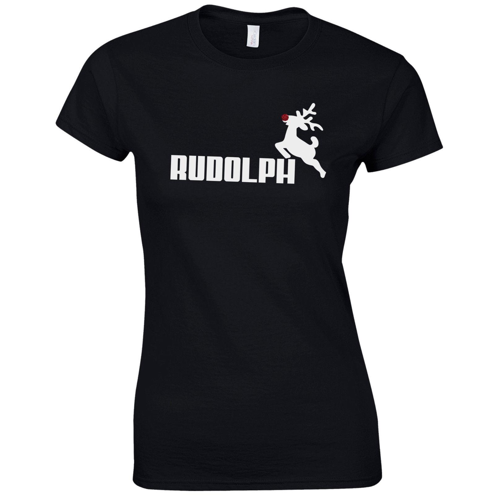 d126f0792f Women s Tee Rudolph Ladies Fitted T Shirt - Christmas Reindeer Rudolf  Glitter Nose Gift Top Fashion Brand Hipster Slim Top
