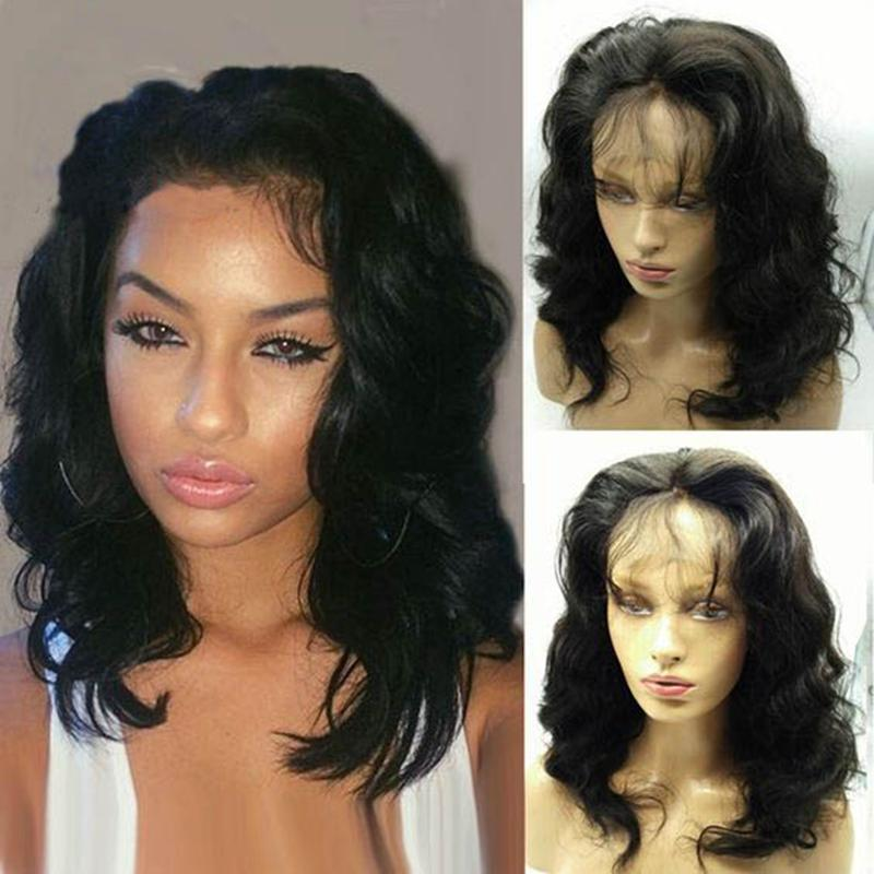 MHAZEL kısa bob kıvırcık braizilian İnsan saç tam dantel ön peruk 150% doğal siyah 14in gerçek resim