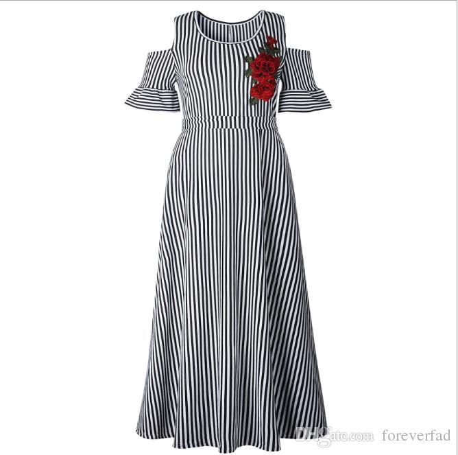 5d5e3acbb 2019 Foreverfad 2018 Hot Sales New Summer Women'S Elegant Drop Shoulder  Floral Short Sleeve Striped Printed Waist Closing Lady'S Long Dress 261  From ...