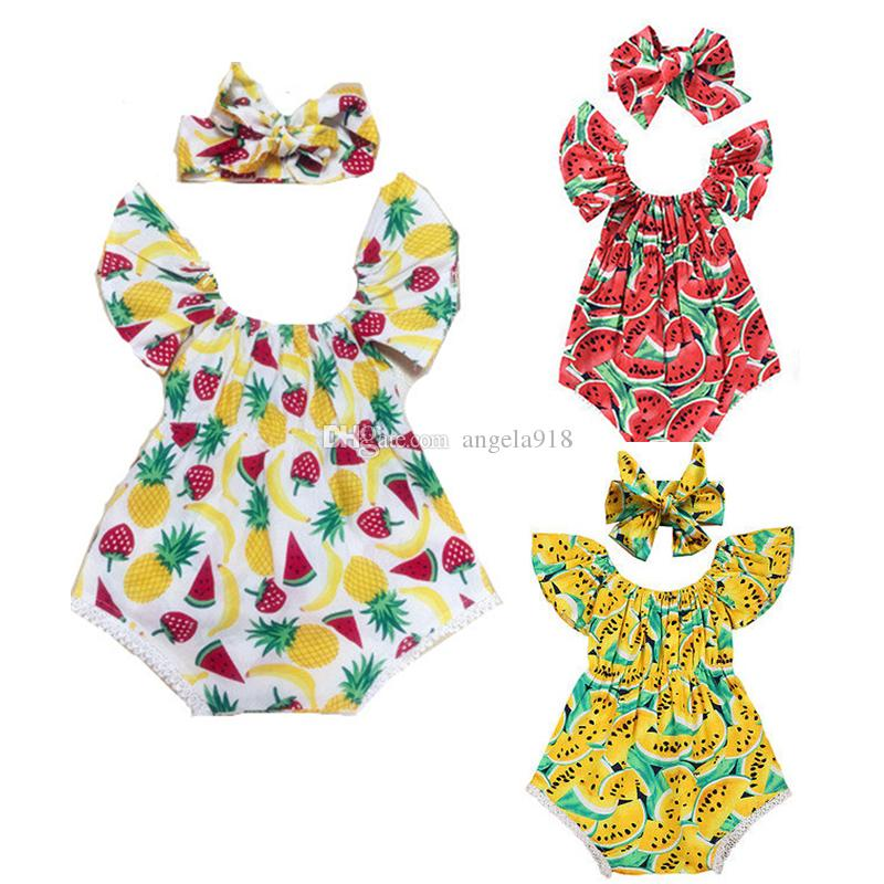 89aa07fb4264 3 Styles Baby Girls Romper Cotton Lotus Leaf Fruit Watermelon ...