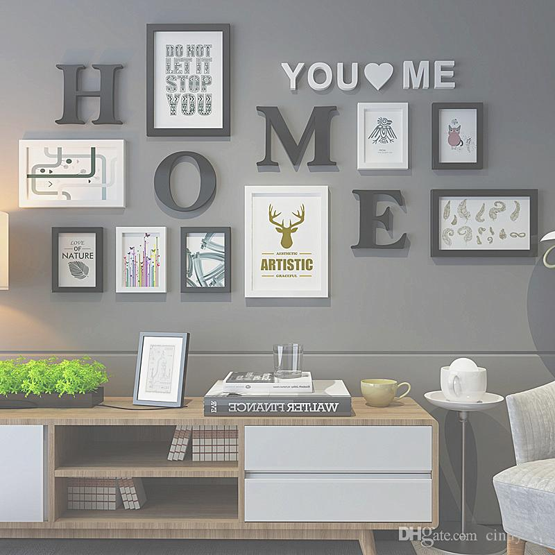 a7a26f6bfe17 2019 Wooden Photo Frame Picture Frame For Living Room Letters Pattern Photo  Frame Combination For Wall Decoration Fotos From Cindy668