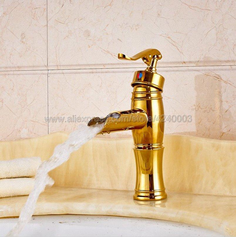 Attirant 2018 Bathroom Waterfall Faucet. Water Pump Look Style Brass Basin Faucet.  Bathroom Mixer Tap Deck Mounted Basin Sink Mixer Kgf051 From Suozhi1995, ...