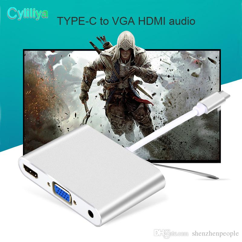 Audio Video Convertion Cable Adapters USB 3.1 Type C to HDMI Converter with VGA+3.5mm Audio Adapter For PC Laptop