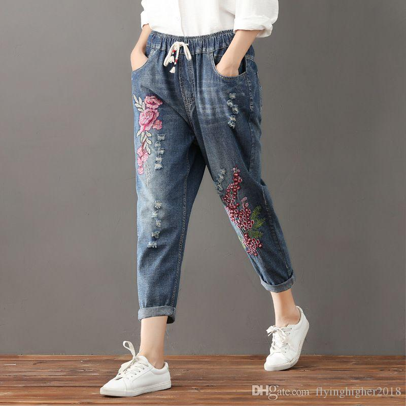 038a065e96 2019 New Fashion Women Flower Embroidery Denim Harem Pants Casual High  Waist Drawstring Jeans Plus Size Elastic Waist Trousers From  Flyinghigher2018