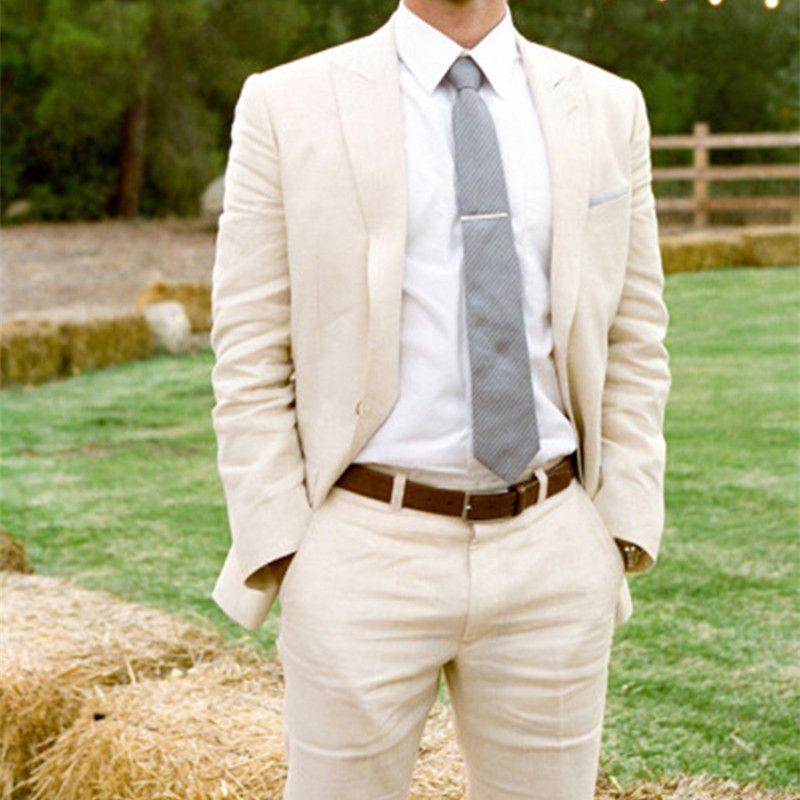 Custom Made 2018 Latest Coat Pant Designs Ivory Champagne Linen Suits Men Skinny Wedding Suits Summer Beach Tuxedo Jacket+Pants