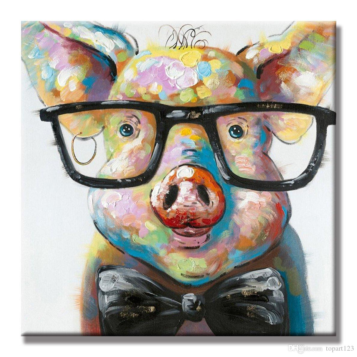 2019 100 Hand Painted Oil Painting Cute Pig Canvas Painting Large