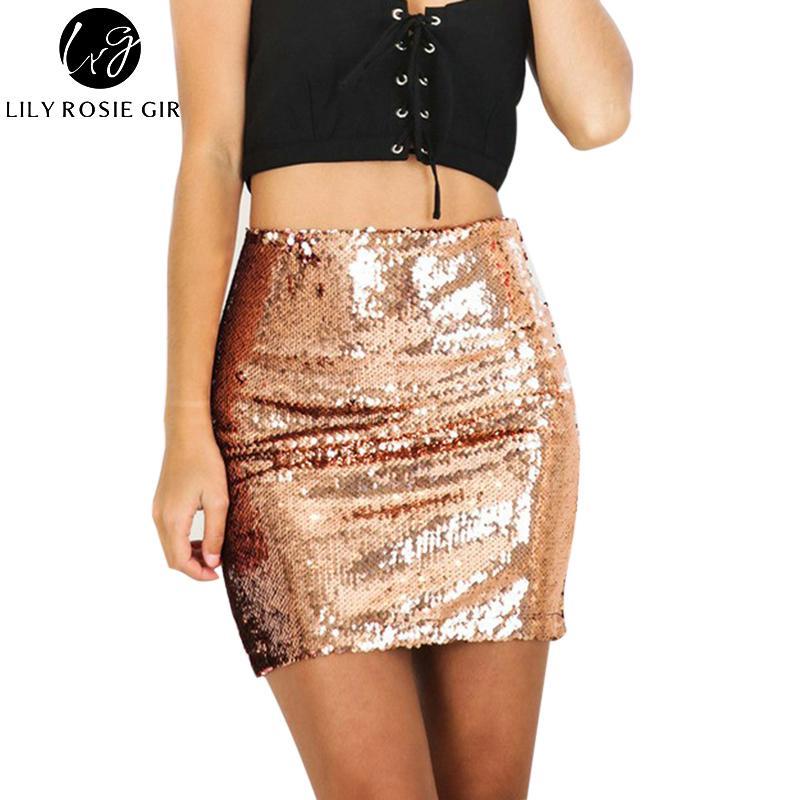 88ba1f9eb4 Compre Sexy Club Gold Sequin Mini Faldas Para Mujer 2018 Navidad Lápiz Falda  De Cintura Alta Cremallera Casual Corto Partido Playa Falda Negra S916 A   18.09 ...