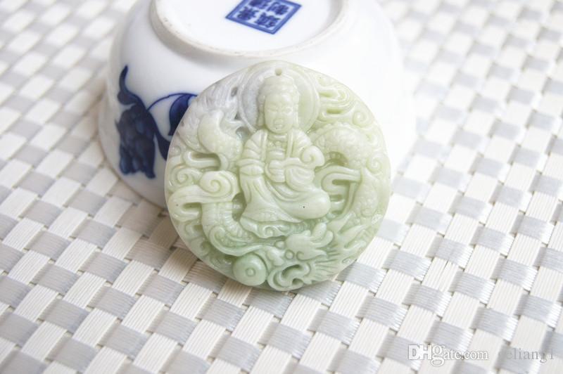 Красивый природный синее поле Шэньси белый и зеленый фиолетовый нефрит, ручной резьбой и изысканный круглый дракон играть Гуаньинь. Талисман ожерелье п