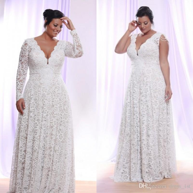 Top Quality Plus Size Wedding Dresses with Optional Long Sleeves Scalloped  V Neck A Line Floor Length Full Lace Bridal Gowns Custom Made
