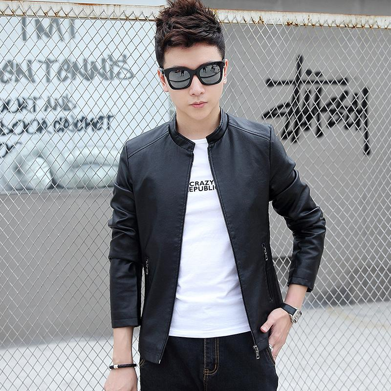 Motorcycle leather men's coat spring and autumn thin Korean version of slim pu leather jacket youth leather men's wear