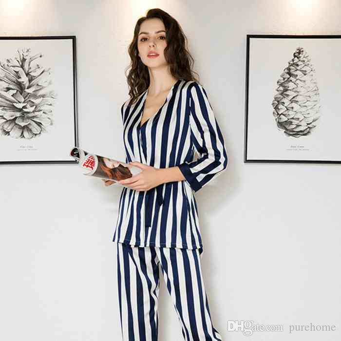 Striped 3-piece Pajamas Set Padded Camisole Silky Nightgown Pyjamas ... 43d5bfe15
