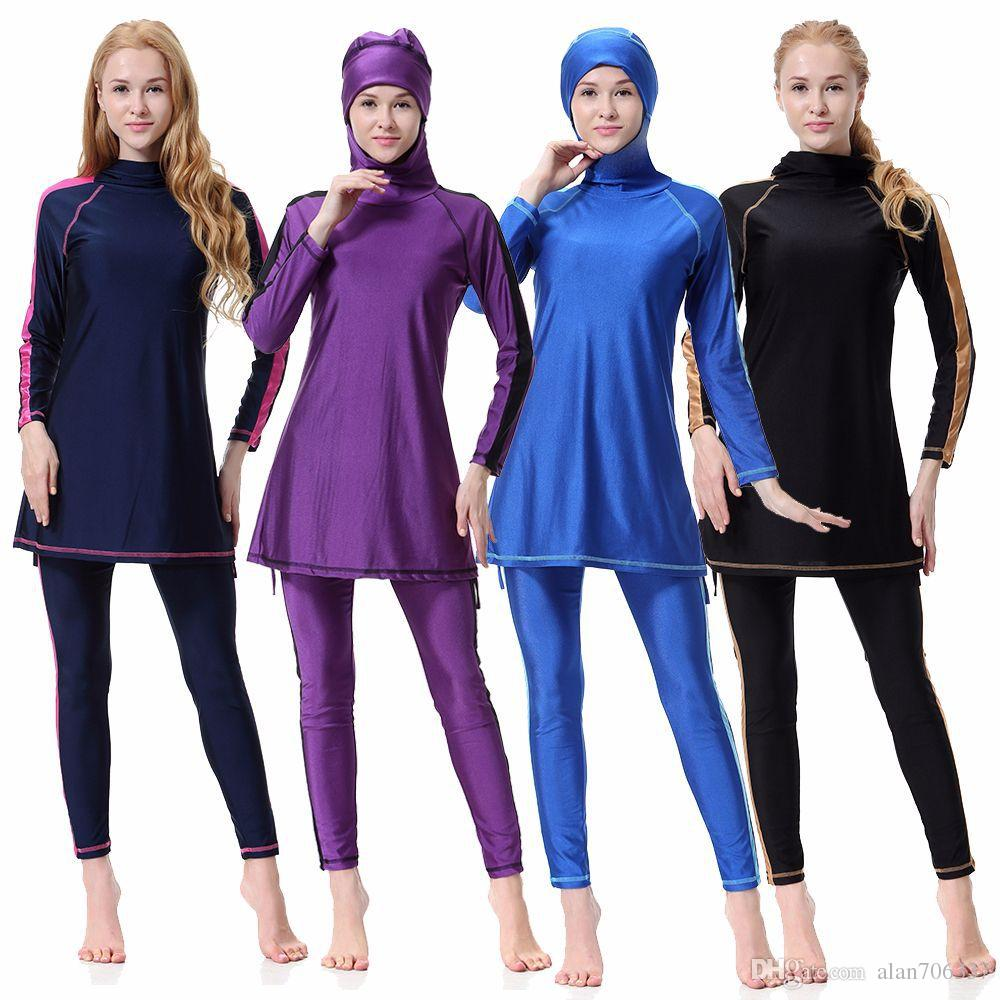 791e37284f 2019 New Soild Two Piece Conservative Islamic Muslim Women'S Full Cover  Modest Swimwear Beachwear Swimming Costume Swimsuits XX 400 From  Alan706337, ...