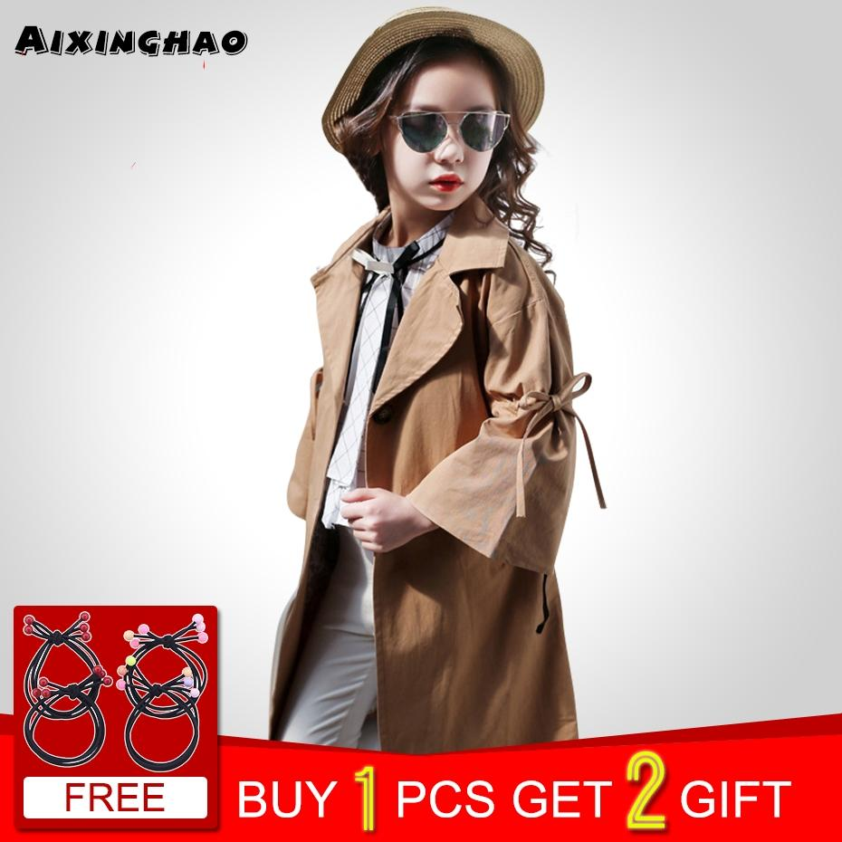7fd8ca4b5393 Girls Long Jackets Autumn Winter Girls Coat Bow Decoration Jacket ...