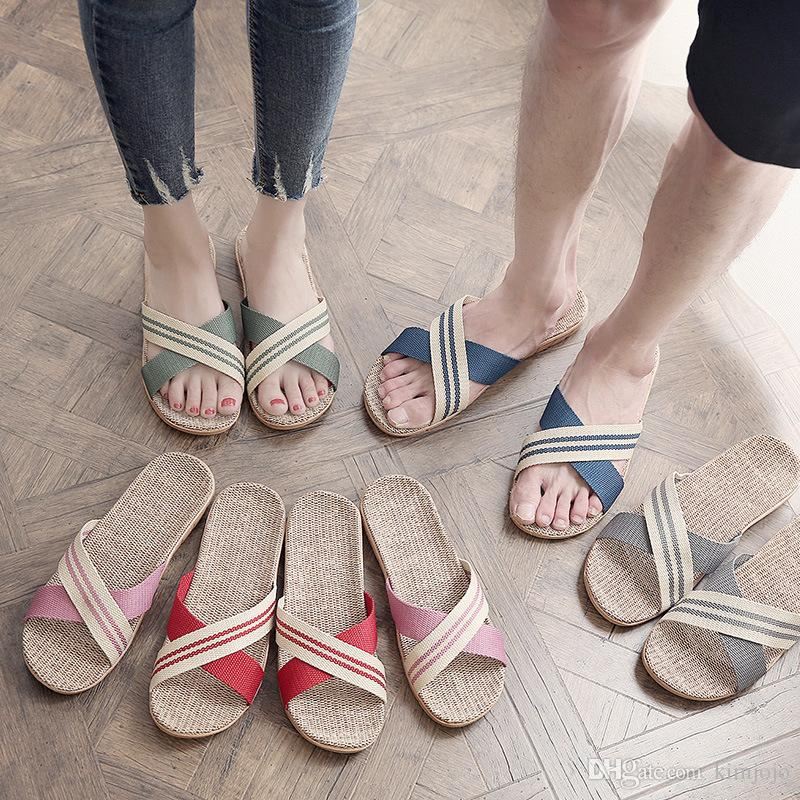 f009a2a48 Summer Unisex Linen Slippers Non Slip Designer Flat Sandals Women Home  Slippers Man Fashion Casual Straw Shoe Silver Shoes Slipper From Kimjojo
