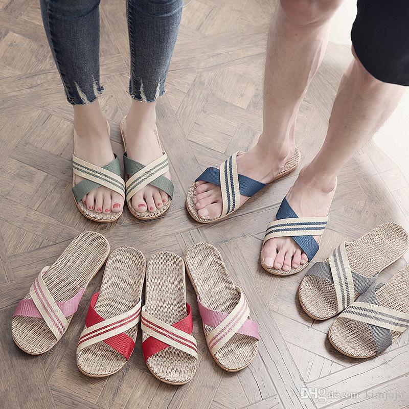04f2e95140d8d2 Summer Unisex Linen Slippers Non Slip Designer Flat Sandals Women Home Slippers  Man Fashion Casual Straw Shoe Silver Shoes Slipper From Kimjojo
