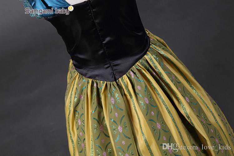 Baby girls cosplay dress in karneval holidays children long skirts kids golden queen dress up size 100 110 120 130 140 150 160