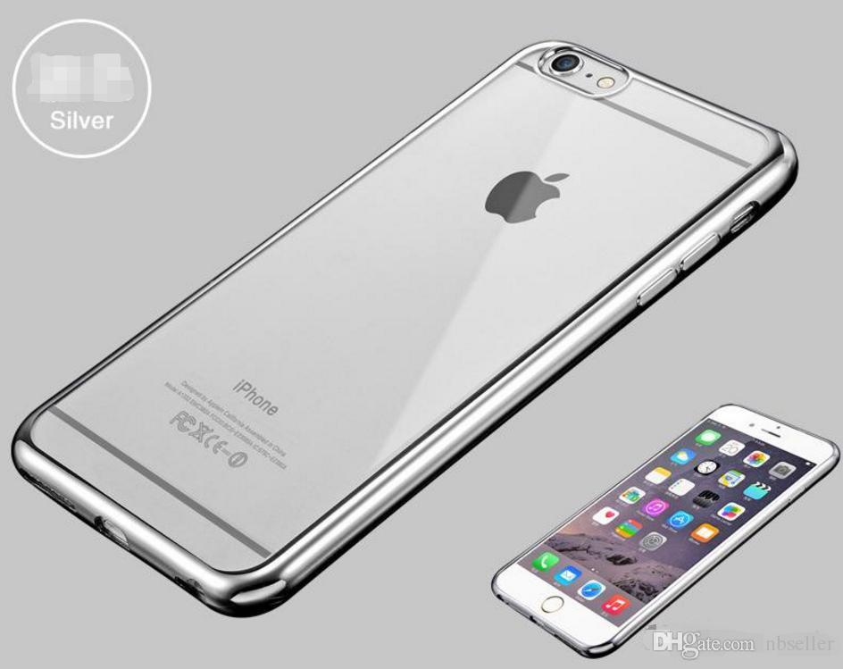 Ultra ince Galvanik Kaplama krom Yumuşak Temizle TPU Kılıf iphone X 6 6 S 7 8 Artı Samsung S6 S7 Kenar S8 S9 Not 5 8